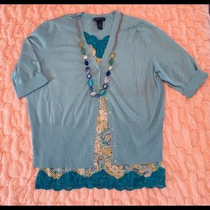 Lane Bryant Blue Cardigan Set 14/16